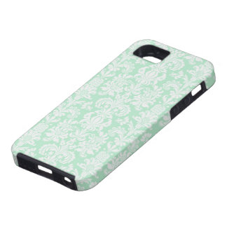 Mint Green & White Vintage Floral Damasks iPhone 5 Cases