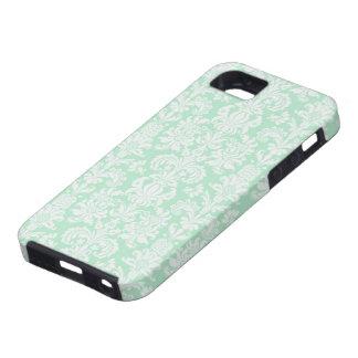Mint Green & White Vintage Floral Damasks iPhone SE/5/5s Case