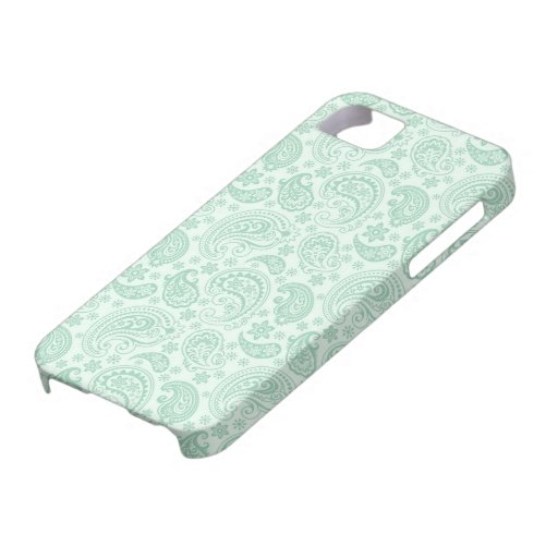 Mint Green & White Vintage Floral Paisley iPhone 5 Cover