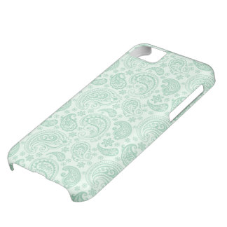 Mint Green & White Vintage Floral Paisley Cover For iPhone 5C