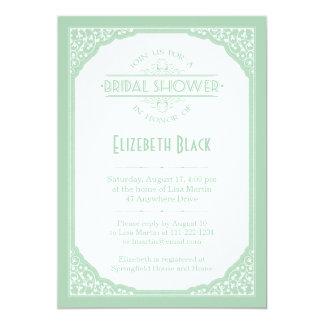 Mint Green White Vintage Frame Bridal Shower Invitations