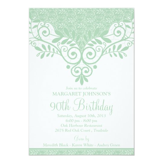Mint Green White Vintage Lace 90th Birthday Invitation