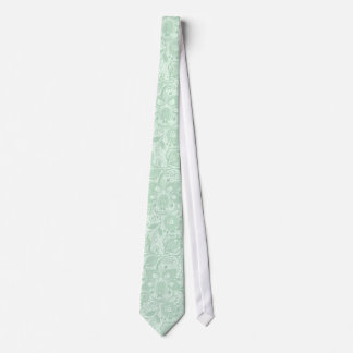 Mint-Green & White Vintage Lace Pattern Neck Tie