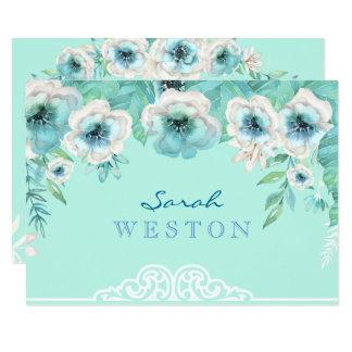 mint green u0026amp white watercolor flowers thank