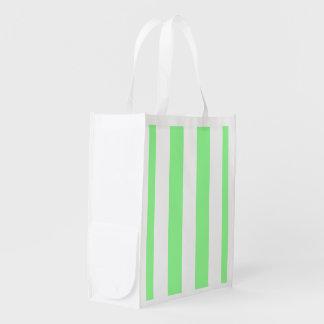 Mint Green White XL Stripes Pattern Reusable Grocery Bag