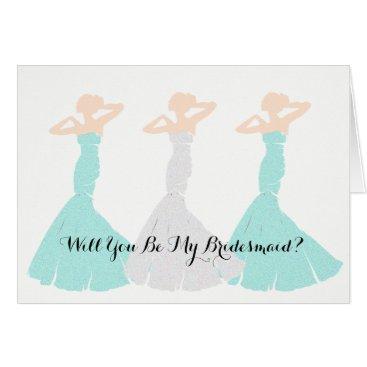 McTiffany Tiffany Aqua Mint Green Will You Be My Bridesmaid Note Cards