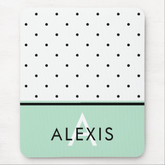Mint Green with Black and White Polka Dots Mouse Pad