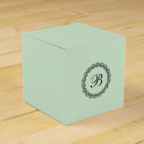 Mint Green with Black Laurel Wreath with Monogram Favor Box