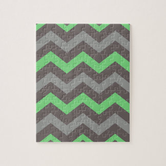 Mint Green With Gray Zigzags Jigsaw Puzzle