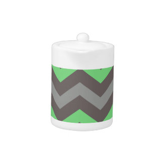 Mint Green With Gray Zigzags Teapot