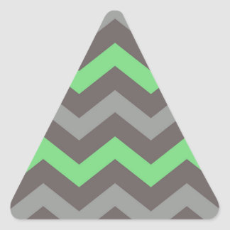 Mint Green With Gray Zigzags Triangle Sticker