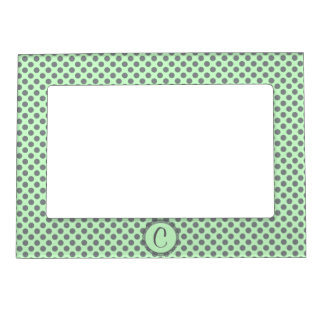 Mint Green With Grey Polka Dots-Monogram Magnetic Frame