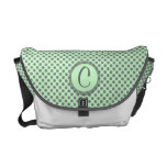 Mint Green With Grey Polka Dots-Monogram Messenger Bags