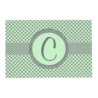 Mint Green With Grey Polka Dots-Monogram Laminated Placemat