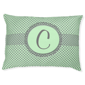 Mint Green With Grey Polka Dots-Monogram Pet Bed