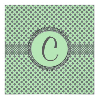 Mint Green With Grey Polka Dots-Monogram Poster