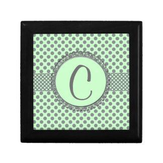Mint Green with Grey Polka Dots-Monogram STaylor Keepsake Box
