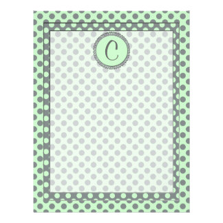 Mint Green with Grey Polka Dots-Monogram STaylor Letterhead