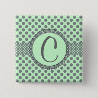 Mint Green with Grey Polka Dots-Monogram STaylor Pinback Button
