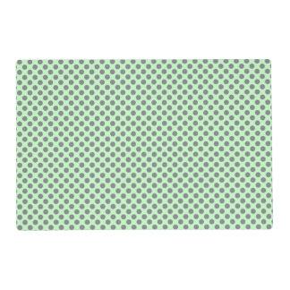 Mint Green With Grey Polka Dots Laminated Place Mat