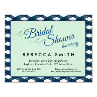 Mint Green with Navy Blue Border Bridal Shower Card