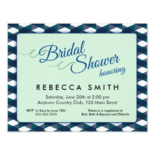 Mint green with navy blue border bridal shower card zazzle for Minted navy wedding invitations