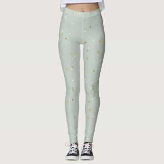 Mint-Green With White & Gold Sparkles Leggings