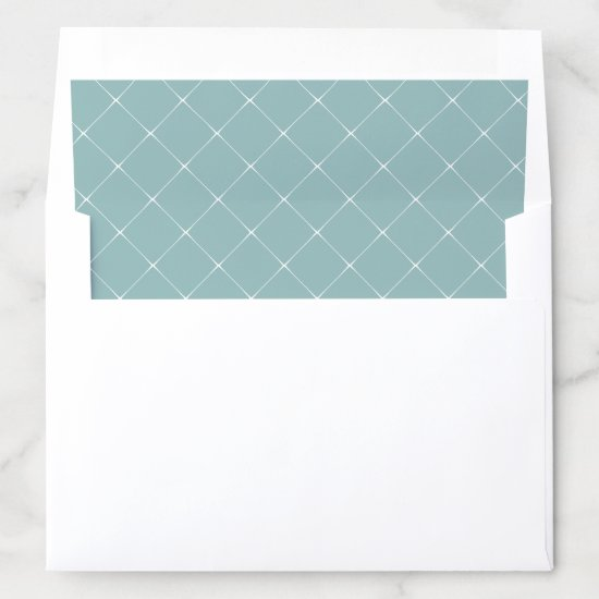 Mint Green with White Lattice Work Overlay Envelope Liner