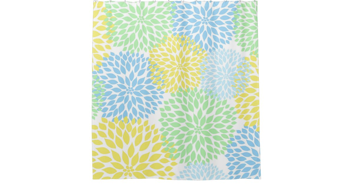Mint Green Yellow Blue Floral Dahlias Blossoms Shower Curtain Zazzle