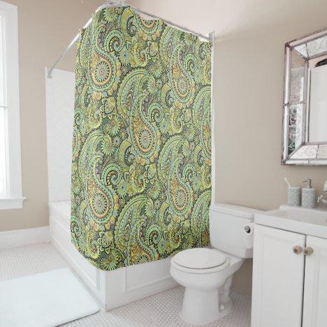 Mint Green Yellow Nouveau Art Deco Pattern Shower Curtain