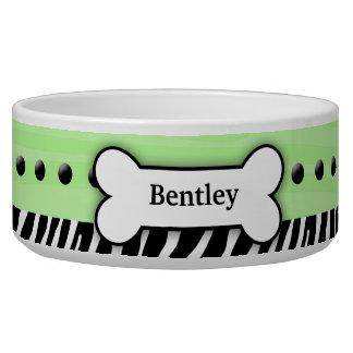 Mint Green Zebra Stripe Custom Pet Dog Food Bowl