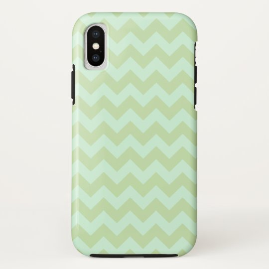 Mint Green Zig Zag Pattern iPhone X Case