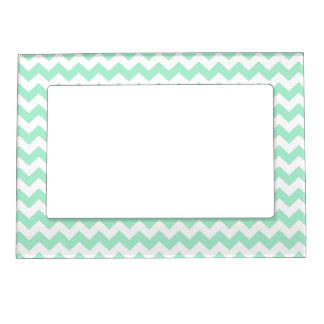 Mint green zig zags zigzag chevron pattern photo frame magnets