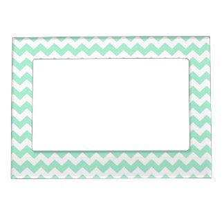 Mint green zig zags zigzag chevron pattern magnetic photo frame