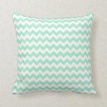 Mint green zig zags zigzag chevron pattern pillows
