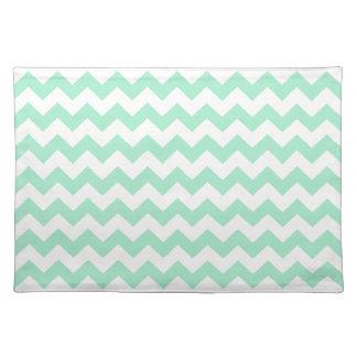 Mint green zig zags zigzag chevron pattern placemat