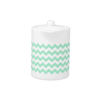 Mint green zig zags zigzag chevron pattern teapot