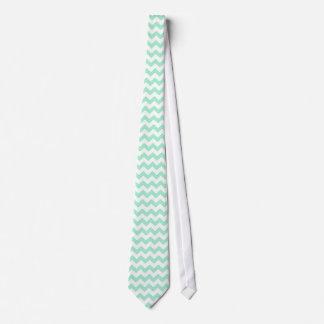 Mint green zig zags zigzag chevron pattern tie