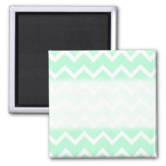 Mint Green Zigzag Chevron Stripes. 2 Inch Square Magnet