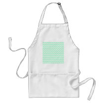 Mint Green Zigzag Chevron Stripes. Adult Apron