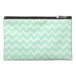 Mint Green Zigzag Chevron Stripes. Travel Accessories Bags