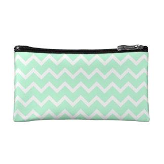 Mint Green Zigzag Chevron Stripes. Cosmetic Bags
