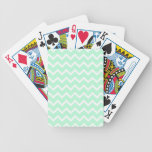 Mint Green Zigzag Chevron Stripes. Bicycle Playing Cards