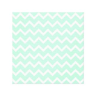 Mint Green Zigzag Chevron Stripes. Canvas Print