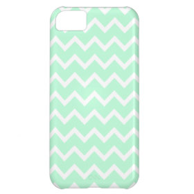 Mint Green Zigzag Chevron Stripes. iPhone 5C Covers