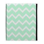 Mint Green Zigzag Chevron Stripes. iPad Folio Cover