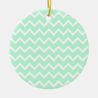 Mint Green Zigzag Chevron Stripes. Ceramic Ornament