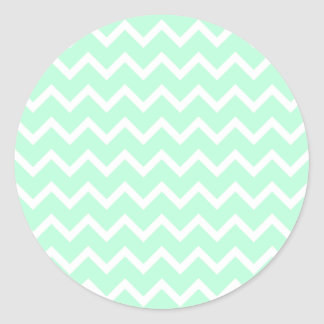 Mint Green Zigzag Chevron Stripes. Classic Round Sticker