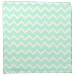 Mint Green Zigzag Chevron Stripes. Cloth Napkin