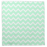 Mint Green Zigzag Chevron Stripes. Cloth Napkins